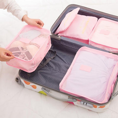 Unisex Luggage Packing Bags Cubes Organizer Double Zipper Waterproof Polyester Travel 6pcs/set