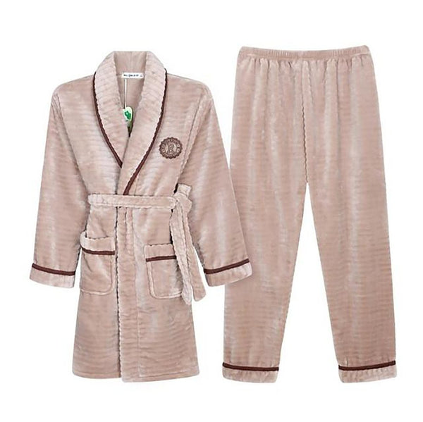 Unisex Robe Set with Pants Elastic Waist Long Sleeve 100% Cotton Flannel