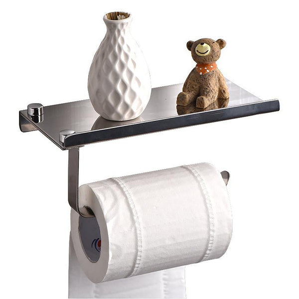 Wall Mounted Toilet Paper Holder Concise Stainless Steel with Phone Holder