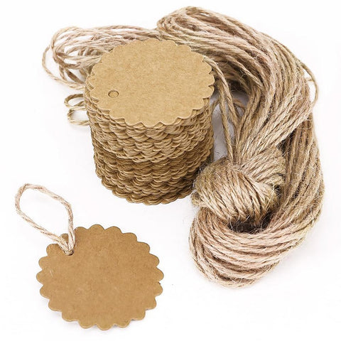 100pcs 60mm Round Scalloped Kraft Paper Card / Gift Tag DIY Hang Label Ear Stud Hooks Cardboard Price Tags
