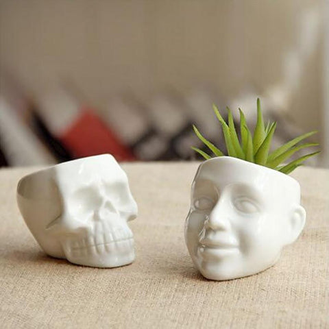 1PC Flower Pots Capita Skull Planters Desktop Accessories Home Decoration Modern Design Gifts White Ceramic