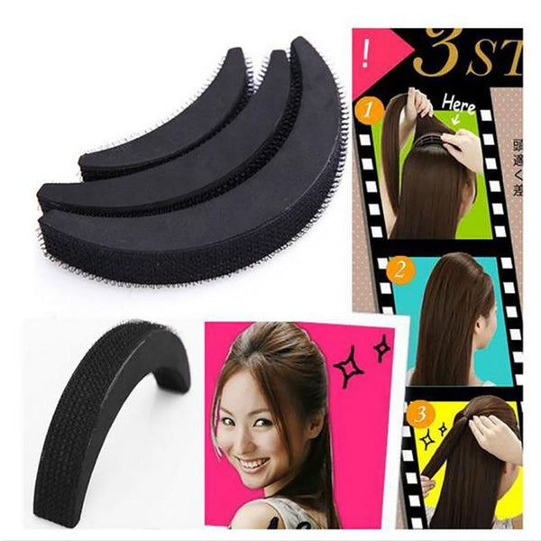 DIY Hair Bumpit Volume Beehive Bump Pad Haight Tools 1 Set/3 Pcs Black