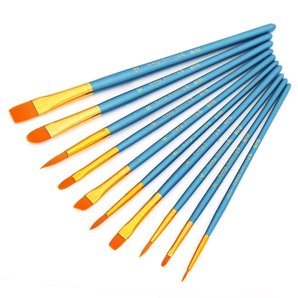 Watercolor Paint Brushes Set Round Pointed Tip Nylon Hair 10pcs/set