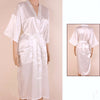 Unisex Adult's Bathrobe Solid Faux Silk V-neck Regular