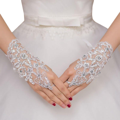 Women's Bridal Gloves Wirst Lenght Fingerless Lace