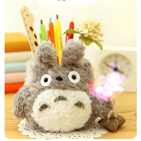 Totoro Pencil Holder Plush Desktop Decor Gift Student Stationery School Office