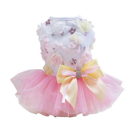 2017 New Puppy Dog Princess Folral Lace Sequins Skirt Tutu Dress Pet Summer Clothes Dresses