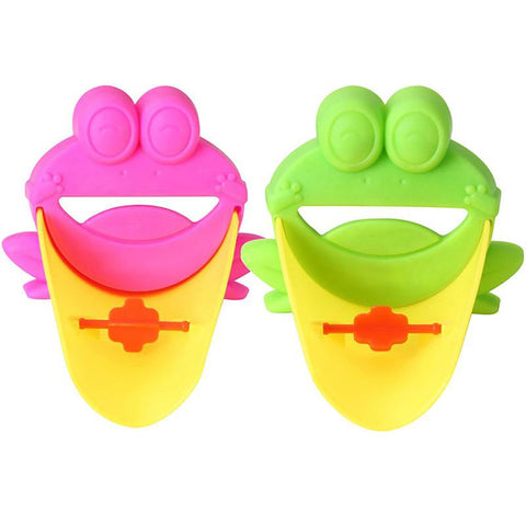 Cartoon Frog Bathroom Sink Faucet Water Chute Extender Children KidsWashing Hands Guiding Convenient for Baby Helper