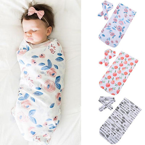 Unisex Baby's Cotton Blanket Printed Muslin with Headband 2pcs/set