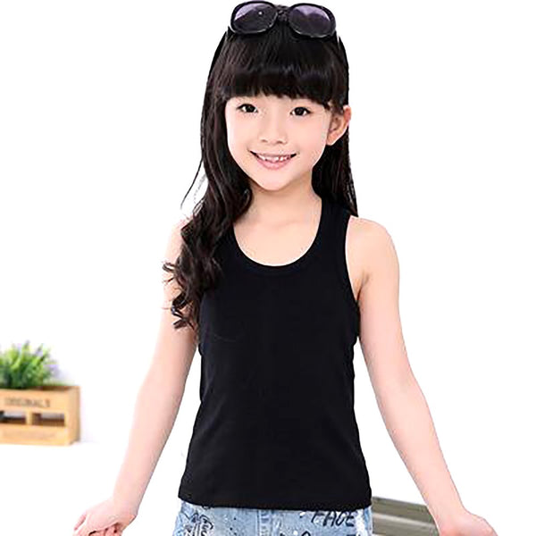 Soft Girls Tanks Summer Sleeveless Tees Fashion Children Tops Outerwear Solid Baby Underwear Casual Kids Camisoles