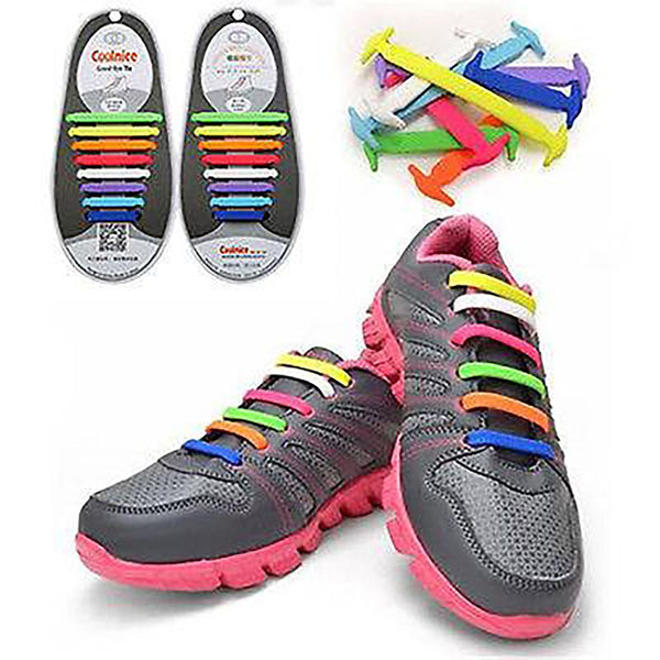Unisex Adult's No Tie Shoelaces Athletic Running Elastic Silicone All Sneakers Fit 12pcs/set
