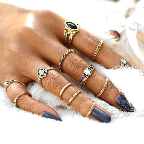 Women's Midi Rings Set 12 pcs/set Vintage Punk Antique Fashion Jewelry