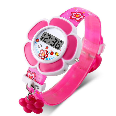 Girl's Flower Watch LED Cartoon Silicone Digital