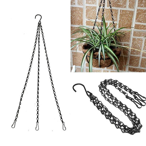 Black Flower Plant Pot Basket Holder Hanging Chain with S-shape Hooks For Home Garden Tools