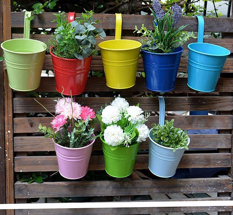 Hanging Portable Flower Pots Garden Balcony Planters Metal Iron Bucket Holders With Detachable Hook Home Decor