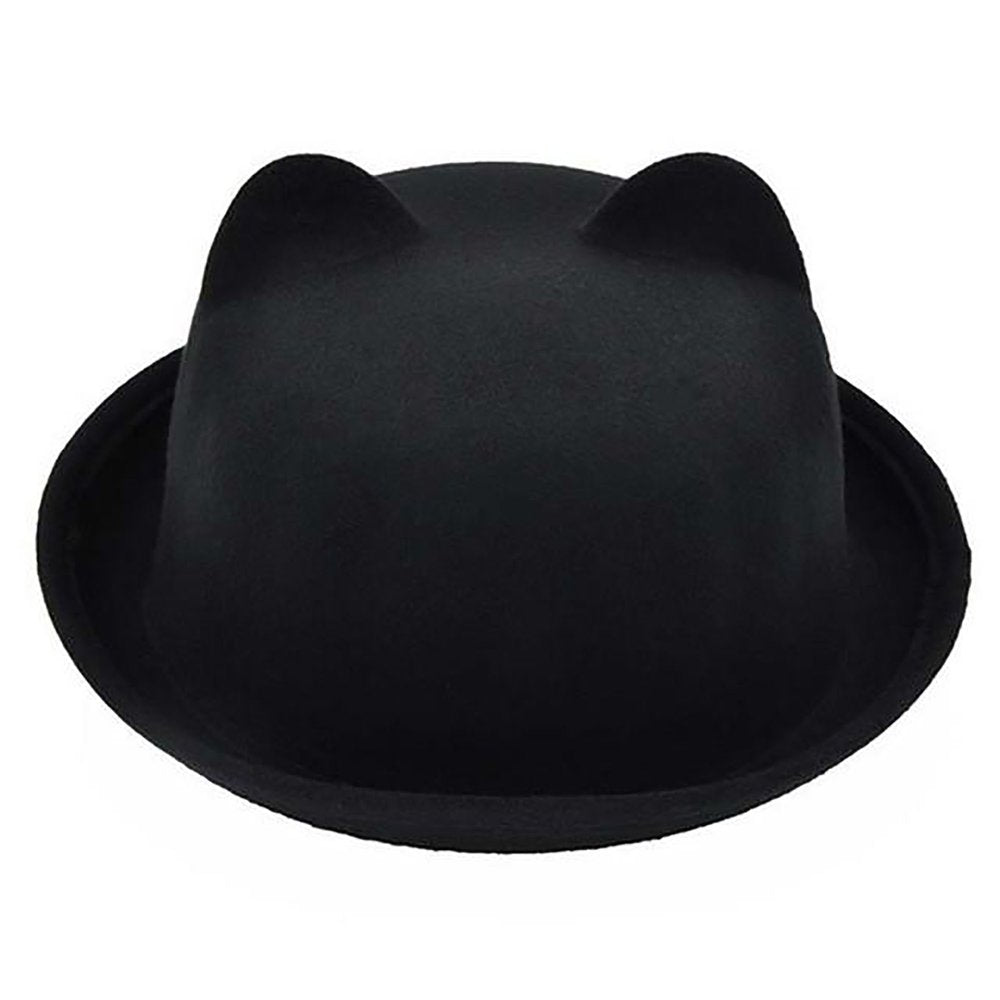 Unisex Cat Ears Bowler Hat Vintage Jazz Felt Fedora Wool Cylinder – Watch  Whole 7fd7b6a4cdc0