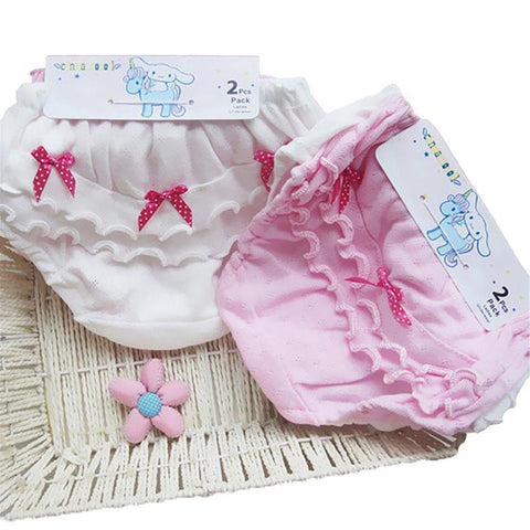 2 Piece/lot Baby Clothing Cotton Wood Ear Bow Pink And White Girl Underwear 0-2 Years Old Newbornbaby Girl Shorts