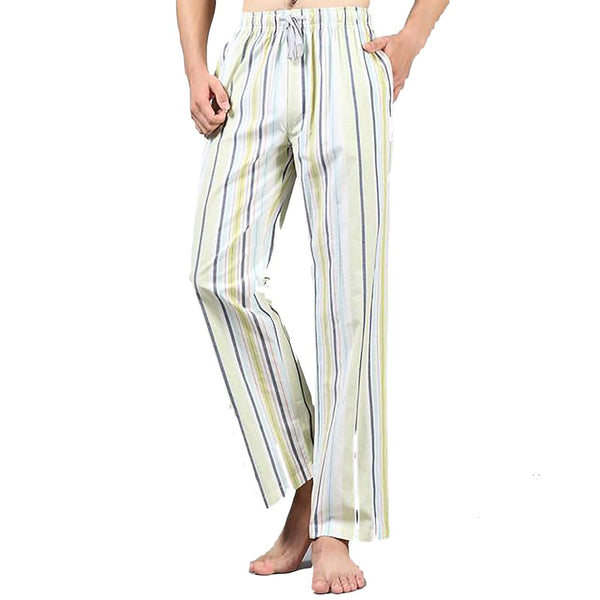 Plus Size Spring 100% Cotton Mens Sleep Bottoms Pajama Simple Sleepwear Pants Pijamas for Male Sheer Pyjama Trousers
