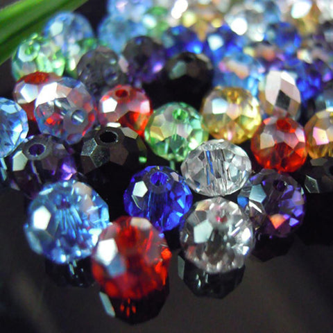 Isywaka Mixed Colors 4*6mm 100pcs RondelleAustria Faceted Crystal Glass Beads Loose Spacer Round for Jewelry Making