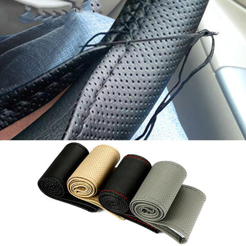 Car Steering Wheel Cover Artifitial Leather with Needles Thread 38cm Diameter