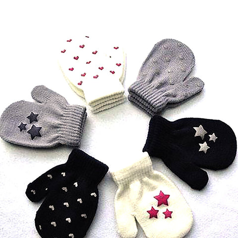 Unisex Kids Gloves Dot Star Heart Pattern Soft Knitting Warm 3-5T