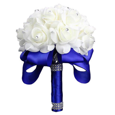 Elegant Colorful Bride Bridesmaid Rose Artificial Hands Holding Wedding Flowers Bridal Bouquets for Party DecorationRoyal Blue