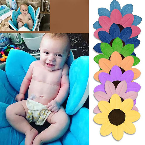 Unisex Newborn's Sunflower Cushion Mat Foldable Blooming Soft Seat Play Sink Shower Bath