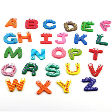 Trustworthy 2015 Hot Sale New Kids Toys 26pcs/set Wooden Cartoon Alphabet ABC~XYZ Magnets Child Educational Toy Gift