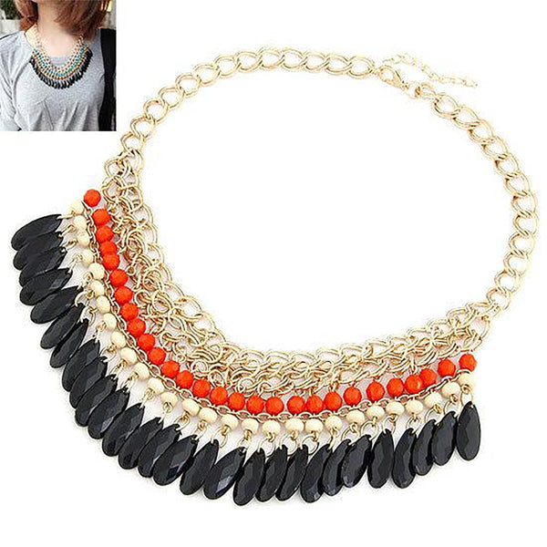Women's Choker Necklace Collier Beads Pendant Korean Bohemian Statement