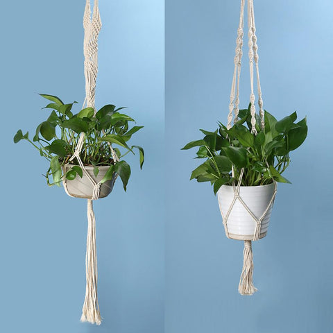 Vintage Knotted Plant Hanger Basket Green Flowerpot Macrame Lifting Rope Pot Holder Garden Hanging Flower Display