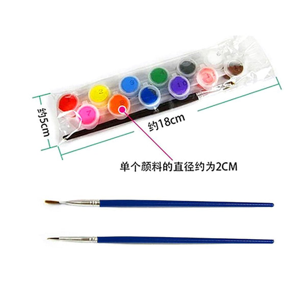 12 Colors with 2 Paint Blue Brushes per Set Acrylic Paints for Oil Painting Nail Art Clothes Digital Wall AOA003