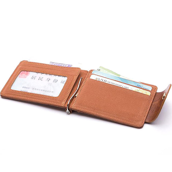 Korea Fashion Brown Gray Color Money Clips High Quality Leather Men Wallets Hasp Mini Purses Vintage Wallet XF127