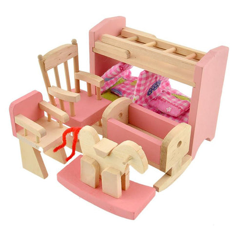 Wooden Doll Bunk Bed Set Furniture Dollhouse Miniature for Kids Child Play Toy Educational Toys Baby Birthday Gifts