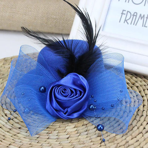 Girl's Wedding Hat Flower Feather Hair Vintage