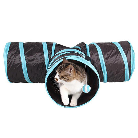 Foldable 3 Holes Nylon Cats Tunnel Toys Home Folding Training Play House