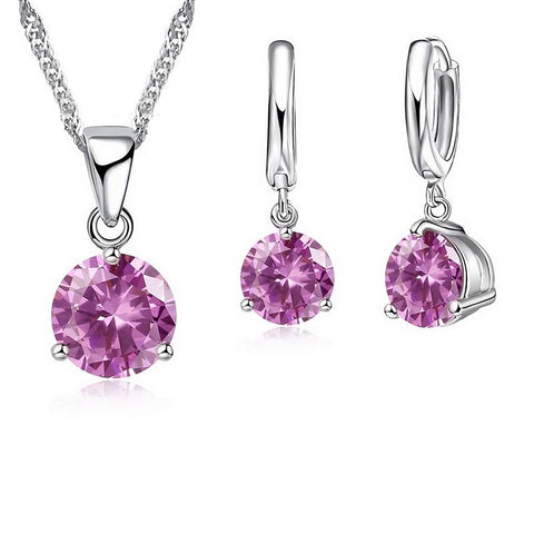 Women's Necklace and Stud Earrings Set Crystal 925 Stearling Silver Cubic Zircon Jewerly
