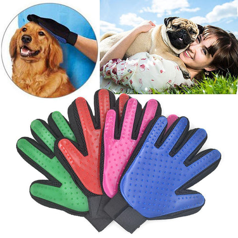Pet's Brush Glove Grooming Massage Bath Clean Magic Five Finger Gentle Efficient