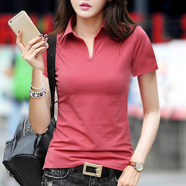 Women's Polo Shirt Breathable Anti-pilling Slim Shor Sleeve Cotton Solid Pattern