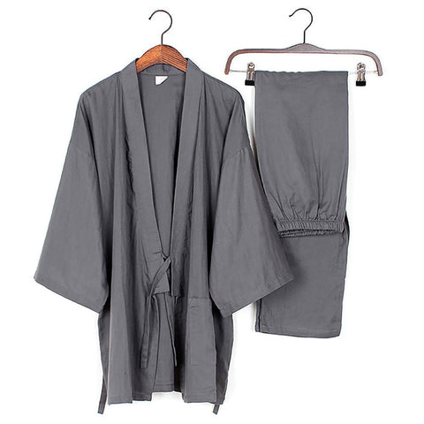 Men Cotton Long Winter Kimono Pajamas Pants Set House Coat Sleepwear Japanese 901-241