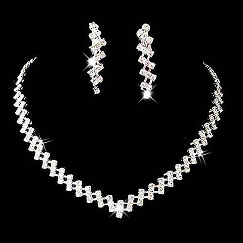 Women's Necklace and Earring Set Crystal Rhinestone for Wdding Prom