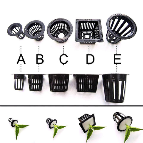 10pcs Black Mesh Pot Net Cup Basket Hydroponic Aeroponic System Plant Grow Organic Green Vegetable Clone Cloning Seed Germinate