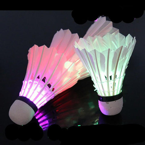 Badminton Shuttlecock Ball Colorful LED Feather Glow in Night Outdoor Entertainment Sport Accesories 4pcs/pack
