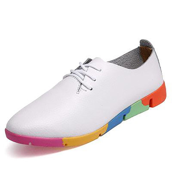 Women's Leather Lace-up Pointed Toe Shoes Soft Bottom Leisure Footwear