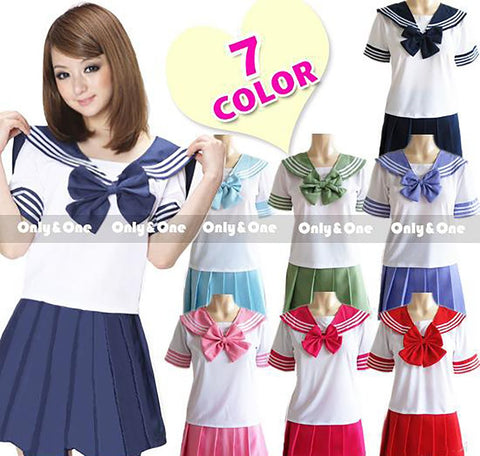 8 Colors Japanese School Uniforms Sailor Suit Tops+tie+skirt JK Navy Style Students Clothes for Girl Lala Cheerleader Clothing
