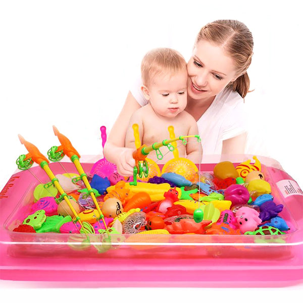 40pcs/lot With Inflatable Pool Magnetic Fishing Toy Rod Net Set For Kids Child Model Play Games Outdoor Toys