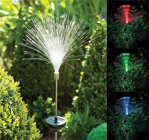 Outdoor Lamp Light LED Color Change Solar Power Fibre Optic for Garden Yard  Path Romantic Holiday