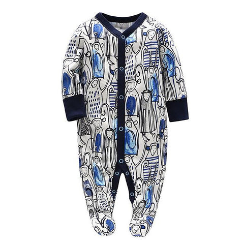 Unisex Baby's Jumpsuit Striped Long Sleeves Comfortable Monkey Cartoon