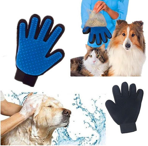 Pet's Brush Glove Silicone Touch Deshedding Gentle Efficient Grooming Bath Cleaning Supllies