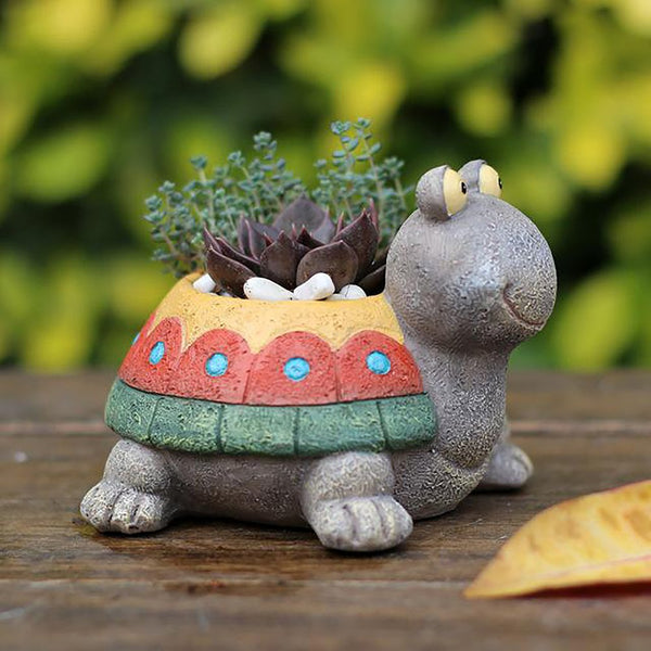 Succulent Flower Pot Zakka Pastoral Dull Turtle Design for Micro Landscape Garden Office Home Decoration