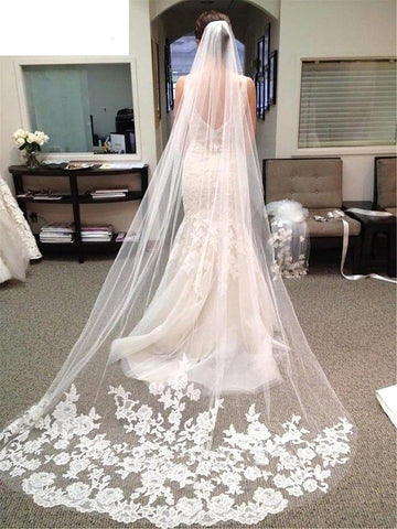 Women's Wedding Bridal Veil Long Cathedral Lace Edge Appliqued